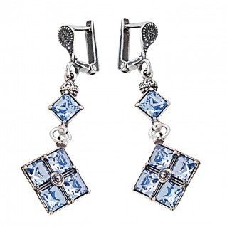 S239 ~ Sterling Silver and Swarovski Dangle Earrings