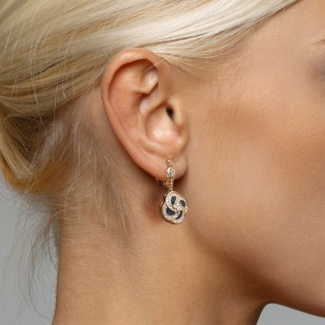 S242 ~ Gold Plated Silver Drop Earrings with Zircon