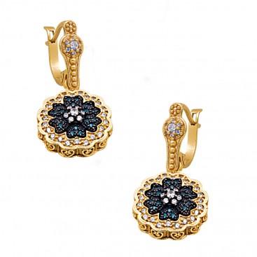 S245 ~ Sterling Silver & Zircon - Flower Drop Earrings