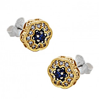 S246 ~ Sterling Silver and Zircons Flower Stud Earrings