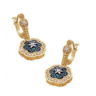 S247 ~ Sterling Silver & Zircon - Flower Drop Earrings