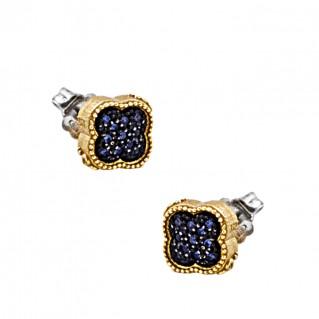 S252 ~ Sterling Silver and Zircons Quatrefoil Stud Earrings