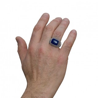 Savati 252 - Sterling Silver Byzantine Men's Ring with Lapis Lazuli