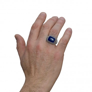 Savati 252 - Sterling Silver Byzantine Men's Ring with Lapis Lazuli