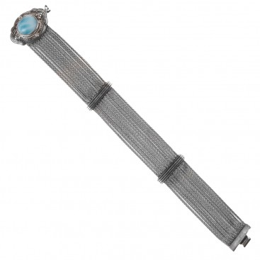 Savati 234 - Sterling Silver Multi Chain Byzantine Bracelet with Larimar