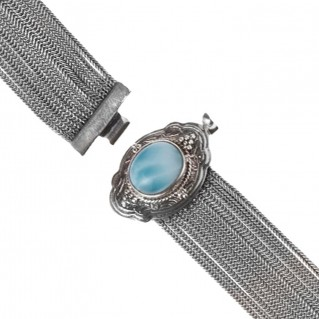 Savati 234 - Sterling Silver Multi Chain Byzantine Bracelet with Larimar