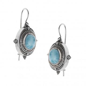 Savati 240 - Sterling Silver & Larimar Byzantine Drop Earrings
