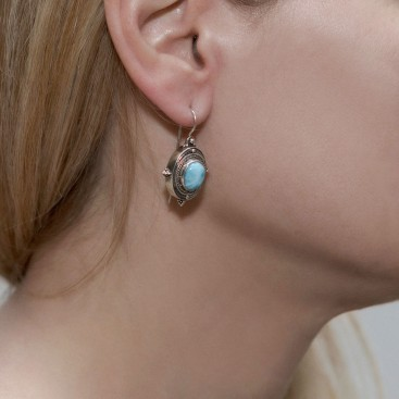 Savati 240 - Sterling Silver & Larimar Byzantine Drop Earrings