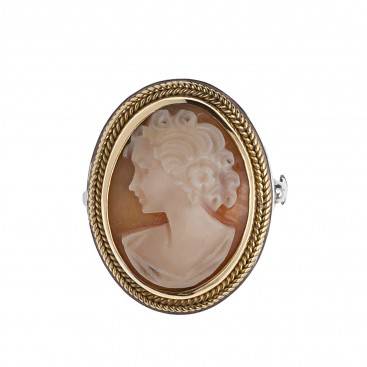 Savati 255 - 22K Solid Gold & Sterling Silver Cameo Large Ring