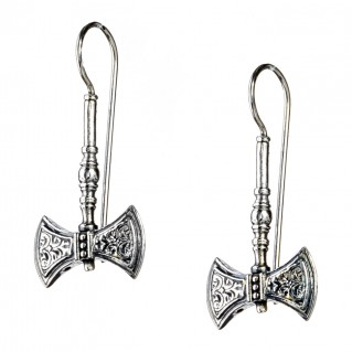 Gerochristo 1582N ~ Sterling Silver Minoan Double Axe Drop Earrings