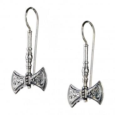 Gerochristo 1582N ~ Sterling Silver Minoan Double Axe Drop Earrings