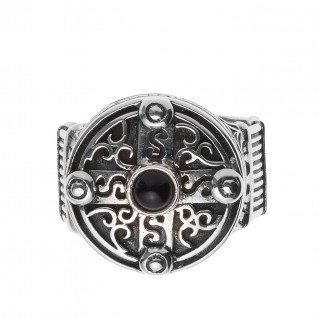 Savati Sterling Silver & Black Onyx Byzantine Round Cross Ring