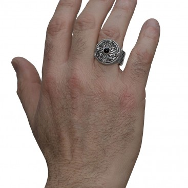 Savati Sterling Silver & Black Onyx Byzantine Round Cross Ring