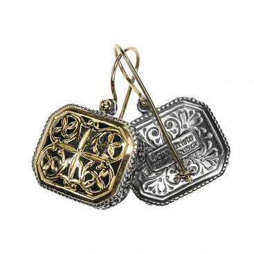 Gerochristo 1102N ~ Solid Gold & Silver Medieval-Byzantine Drop Earrings