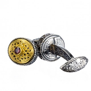 Gerochristo P7120N ~ Sterling Silver & Zircon Byzantine-Medieval Filigree Cufflinks
