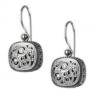 Gerochristo 1201N ~ Sterling Silver Medieval-Byzantine Drop Hook Earrings