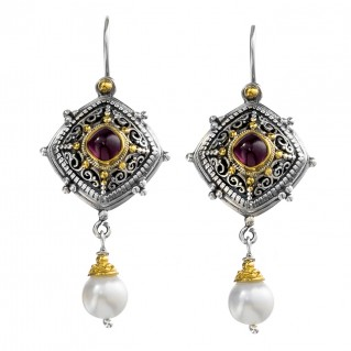 Gerochristo P1345N ~ Sterling Silver & Stones - Medieval Drop Earrings