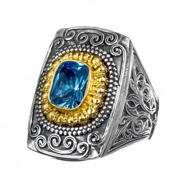 Gerochristo P2432N ~ Sterling Silver & Zircon Medieval-Byzantine Cocktail Ring