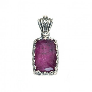 Gerochristo 1621N ~ Sterling Silver Medieval-Byzantine Pendant with Doublet Stone