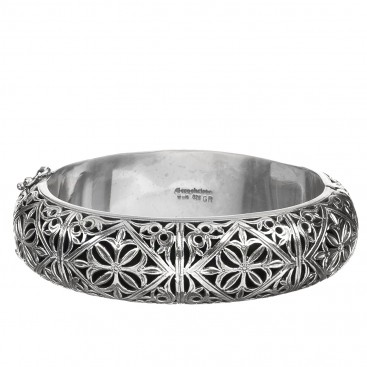 Gerochristo 6037N ~ Sterling Silver Medieval Filigree Bangle Bracelet