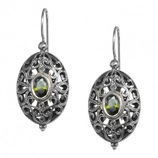 Gerochristo 1563N ~ Sterling Silver & Zircon - Medieval-Byzantine Drop Earrings