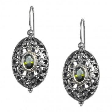 Gerochristo 1563N ~ Sterling Silver & Zircon - Medieval-Byzantine Drop Earrings