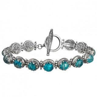 Gerochristo 6279N ~ Sterling Silver Medieval Link Bracelet with Doublet Stones