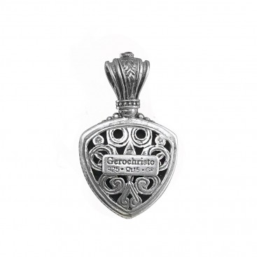 Gerochristo 1618N ~ Sterling Silver Medieval-Byzantine Pendant with Doublet Stone