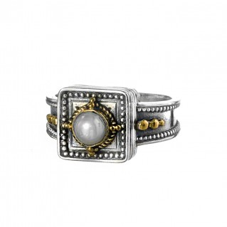 Gerochristo P2683N ~ Sterling Silver Byzantine-Medieval Single Stone Ring
