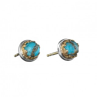 Gerochristo 1625N ~ Solid Gold & Silver Medieval Stud Earrings with Doublet Stones