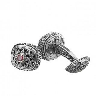 Gerochristo 7041N ~ Sterling Silver & Zircon Medieval-Byzantine Filigree Cufflinks