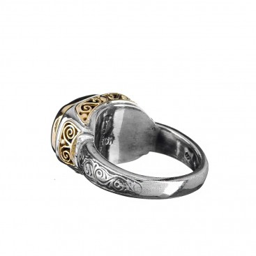 Gerochristo 2185N ~ Solid Gold Sterling Silver - Medieval-Byzantine Band Ring