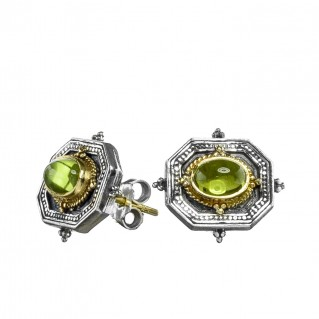 Gerochristo 1081N ~ Solid Gold, Sterling Silver Byzantine Medieval Stud Earrings