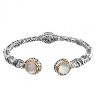 Gerochristo 6353N ~ Solid Gold & Sterling Silver Medieval Cuff Bracelet with Doublet Stones