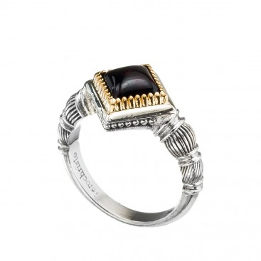 Gerochristo 20051N ~ Solid Gold & Silver Medieval-Byzantine Solitaire Ring