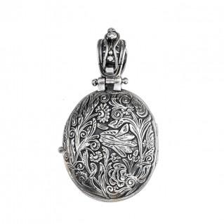 Gerochristo P3331N ~ Sterling Silver Medieval Floral Locket Pendant