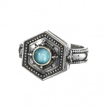 Gerochristo 2657N ~ Sterling Silver Medieval-Byzantine Single Stone Ring