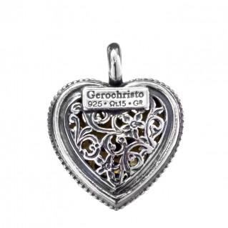 Gerochristo P1236N ~ Sterling Silver Filigree Heart Pendant