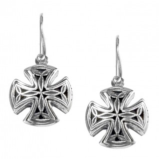 Gerochristo 1356N ~ Sterling Silver Medieval Drop Hook Cross Earrings