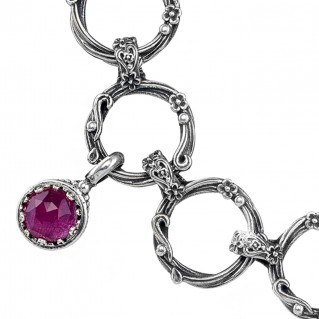 Gerochristo 6315N ~ Sterling Silver Multi-Color Charm Link Bracelet