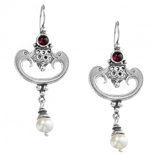 Gerochristo 1341N ~ Sterling Silver & Stones - Byzantine Dangle Earrings