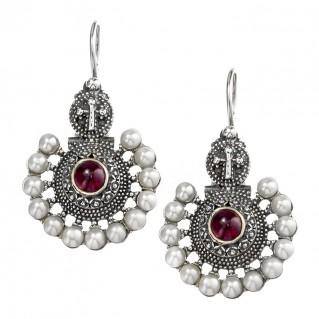 Gerochristo 1332N ~ Sterling Silver & Stones Byzantine Drop Ornate Earrings