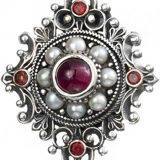 Gerochristo 3222N ~ Sterling Silver and Stones Medieval-Byzantine Large Pendant