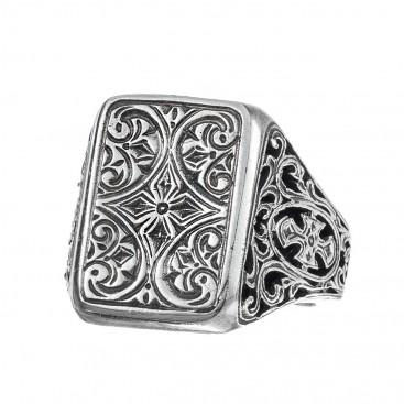 Gerochristo 2488N ~ Sterling Silver Medieval-Byzantine Cross Ring