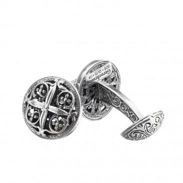 Gerochristo 7011N ~ Sterling Silver Medieval-Byzantine Cross Cufflinks