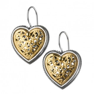 Gerochristo P1236N ~ Sterling Silver Filigree Heart Earrings