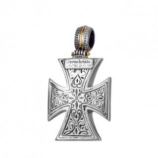Gerochristo 5410N ~ Solid Gold & Silver Maltese Cross Pendant
