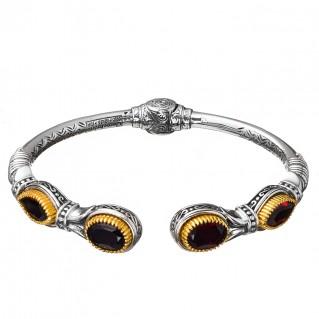 Gerochristo P6370N ~ Sterling Silver & Stones Medieval Cuff Bracelet
