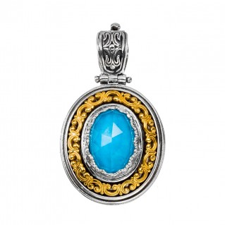 Gerochristo P3314N ~ Sterling Silver Medieval Oval Pendant with Doublet Stone