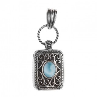 Savati 241 - Sterling Silver and Larimar Byzantine Large Pendant